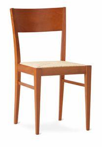 TEA, Chaise rustique linéaire avec le siège de paille tressée