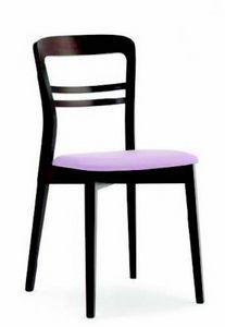 3040 Minerva, Chaise en bois avec assise rembourrée