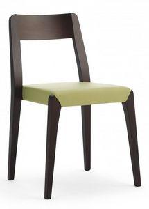 D09, Chaise en bois, assise rembourrée, revêtement en tissu, pour l'usage domestique et contratc