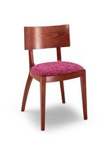Francesca, Chaise en bois linéaire, avec siège rembourré