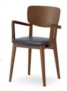 Gianna P, Chaise avec structure en bois massif, avec accoudoirs