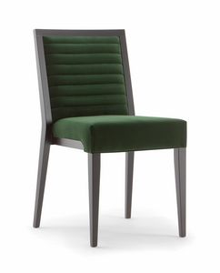 GINEVRA SIDE CHAIR 031 S, Chaise en bois massif, avec assise et dossier rembourrés