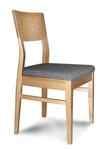 Giorgia S, Chaise en bois linéaire avec siège rembourré, pour les restaurants