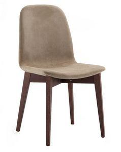 Katty, Chaise rembourrée en tissu, pieds en bois