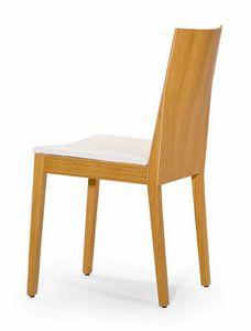 Luna UPH seat, Chaise en bois avec des formes strictes