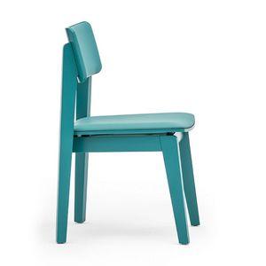 Offset 02813, Chaise en bois massif, assise et dossier rembourrés