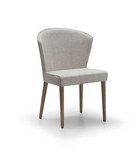 Chaise Coco 090, Chaise rembourrée avec pieds en bois colorés