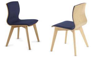 WEBWOOD 357Y, Chaise en bois avec assise rembourrée