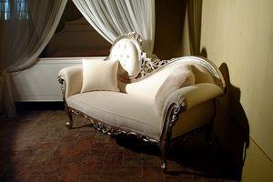 Monet Silver, Dormeuse de luxe en bois sculpté à la main, style baroque