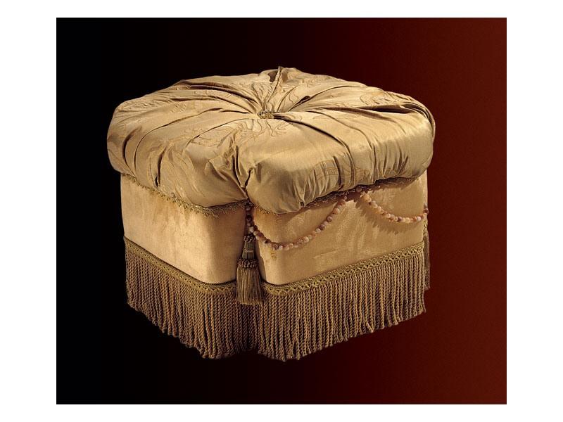 Nathalia pouf paradise, Pouf rembourré pour salons et chambres, de style classique