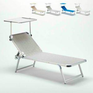 Chaise longue de plage en aluminium avec toit ouvrant réglable NETTUNO - NE800TEX, Lit de plage avec toit réglable
