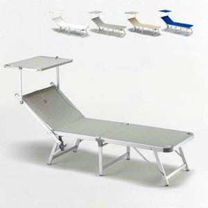 Lit de plage Gabicce - GA800TEX, Plage chaise recouverte de tissu avec structure en aluminium