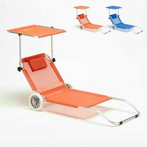 Lit de plage aluminium pliant bain de soleil transat roues pare soleil BANANA - BA600LUXAR, Transat portable en aluminium