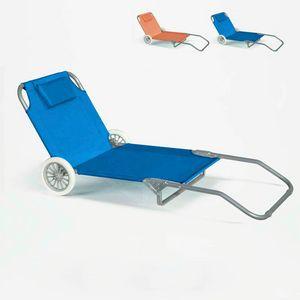 Lit de plage pliant bain de soleil transat piscine portable roues BANANA - BA600OXFAZ, Transat portable à roulettes
