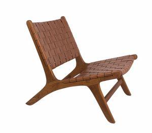 Remix 0535, Chaise relax en teck et cuir