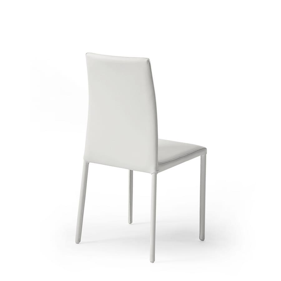 Agata high, Chaise moderne avec dossier haut, recouvert de cuir