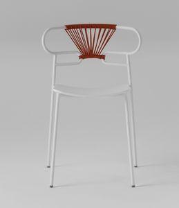 ART. 0047-MET-CROSS-PU GENOA, Chaise en métal, avec dossier décoré de corde