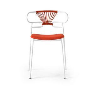 ART. 0047-MET-CROSS-IM GENOA, Chaise empilable en métal avec assise rembourrée