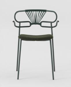 ART. 0048-MET-CROSS-IM GENOA, Chaise avec accoudoirs, dossier en corde