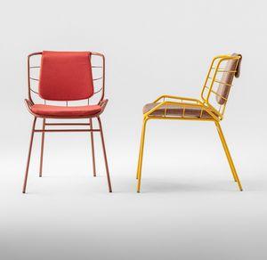 ART. 0084-MET SKIN, Chaise en métal, avec rembourrage