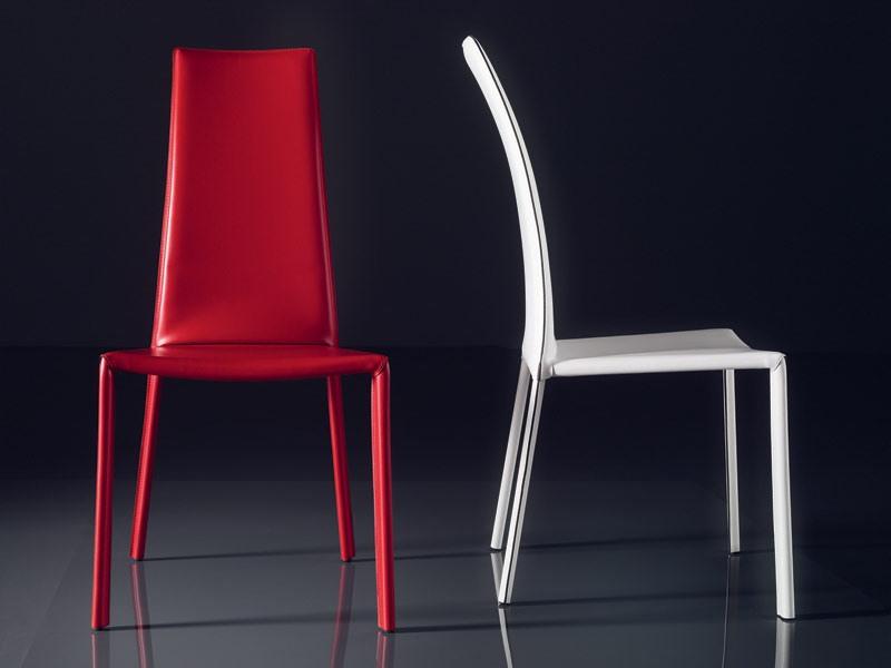 ART. 235 FIREFLY, Chaise avec assise en cuir rembourré, dossier haut, pour les bars