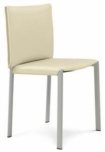 Bilbao chaise 10.0120, Chaise en métal, assise en cuir