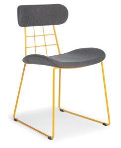 Chloe, Chaise moderne en métal, rembourrée