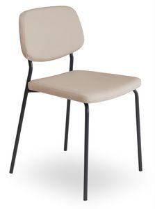 Clio, Chaise en métal avec assise rembourrée