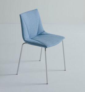 Colorfive UPH NA, Chaise rembourrée, recouvert de tissu roi, base en métal