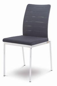 Evosa 08/1, Chaise moderne en métal pour la cuisine, chaise avec assise rembourrée pour bar
