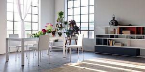 Liz, Chaise moderne en faux cuir, pour la cuisine et salle à manger
