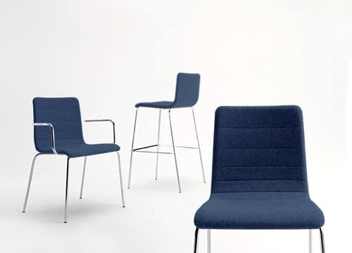 Tesa stripe, Chaise empilable, en métal chromé, coutures horizontales