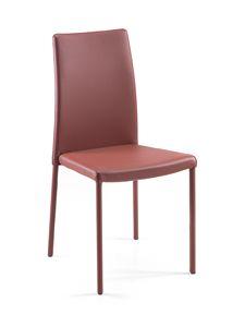 Treviso impilabile alta/bassa, Chaise personnalisable en métal et cuir pour restaurants