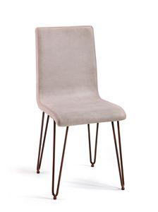 Valdo, Chaise en cuir avec pattes en acier pour usage contractuel
