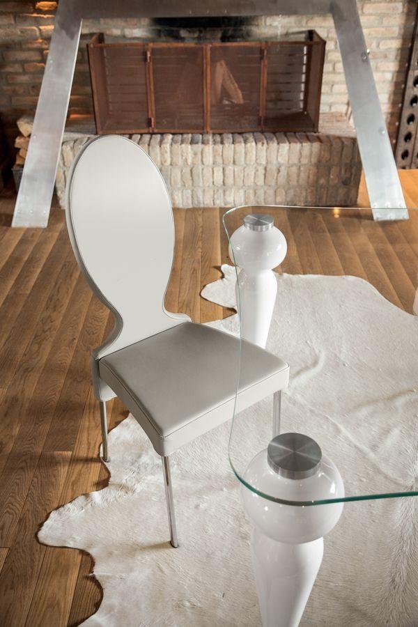 VIVIENNE, Chaise en métal, dos rond, pour le salon