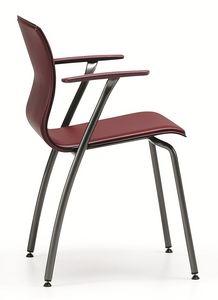 WEBTOP 388, Chaise en métal et cuir, adapté pour les bars et les bureaux