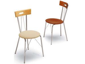 299, Chaise en métal, dossier avec poignée, pour la barre de collations