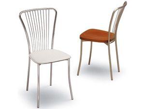 530, Chaise en métal, en arrière avec motif vertical, salon de crème glacée