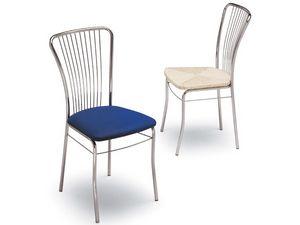 73, Chaise en métal peint, assise rembourrée, pour la maison
