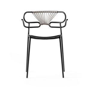 ART. 0048-MET-CROSS-PU GENOA, Chaise empilable en métal, aussi pour l'extérieur