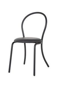 Art.Kris, Chaise en métal courbé, siège rond rembourré