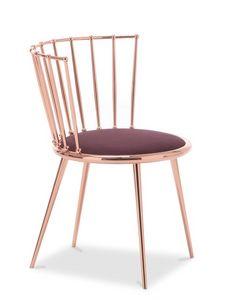 Aurora barrée retour chaise, Chaise en métal avec siège rembourré