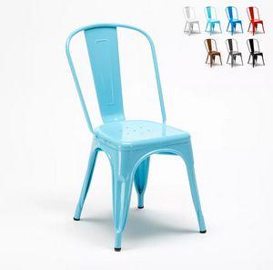 Chaise Tolix industrielle en acier et métal pour cuisine et bars Steel One SM9008ST, Chaise de style industriel