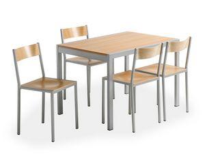 Do chair, Chaise en métal avec siège en bois, pour la cantine
