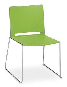 Easy 01, Chaise empilable avec métal chromé et polypropylène coloré