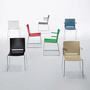Easy, Chaise empilable en métal et polypropylène, avec accoudoirs