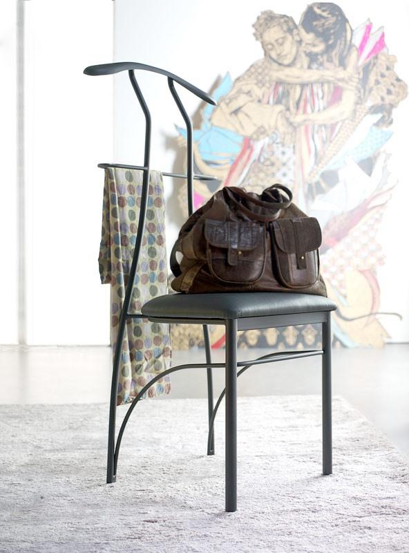 Galileo, Chaise Hanger, fer peint, assis en simili cuir