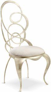 Ghirigori chaise, Chaise à manger avec dossier en fer forgé