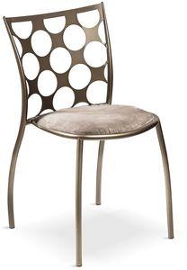 Julie cerchi avec siège rembourré, Chaise en métal avec assise rembourrée