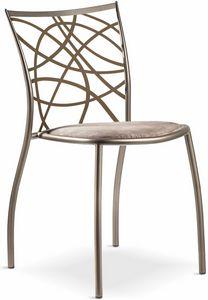 Julie chaise avec siège rembourré, Chaise empilable en métal